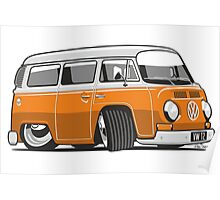 VW T2 Microbus cartoon orange Poster