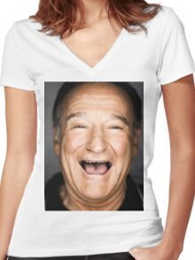 robin williams lol Women's Fitted V-Neck T-Shirt