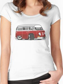 VW T2 Microbus cartoon red Women's Fitted Scoop T-Shirt