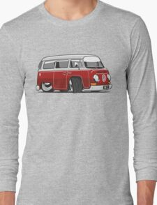 VW T2 Microbus cartoon red Long Sleeve T-Shirt