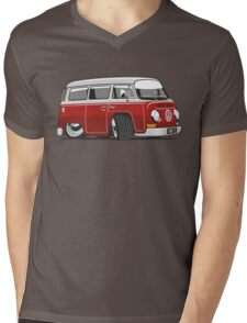 VW T2 Microbus cartoon red Mens V-Neck T-Shirt