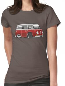 VW T2 Microbus cartoon red Womens Fitted T-Shirt