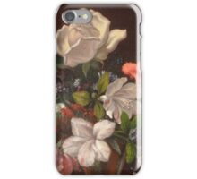 Martin Johnson Heade - Mixed Flowers With A Box And Pearls. Still life with flowers: flowers, hummingbird, nest, orchid,  lotus blossom, wonderful flower, forest, passion flowers, garden, magnolias iPhone Case/Skin