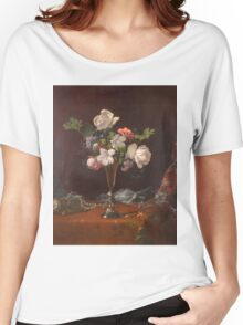 Martin Johnson Heade - Mixed Flowers With A Box And Pearls. Still life with flowers: flowers, hummingbird, nest, orchid,  lotus blossom, wonderful flower, forest, passion flowers, garden, magnolias Women's Relaxed Fit T-Shirt