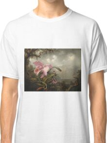 Martin Johnson Heade - Orchid And Hummingbird. Garden landscape: garden view, trees and flowers, blossom,  lotus blossom, botanical park, orchid, wonderful sky, passion flowers, magnolias, hummingbird Classic T-Shirt