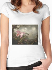 Martin Johnson Heade - Orchid And Hummingbird. Garden landscape: garden view, trees and flowers, blossom,  lotus blossom, botanical park, orchid, wonderful sky, passion flowers, magnolias, hummingbird Women's Fitted Scoop T-Shirt