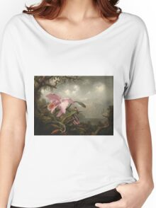 Martin Johnson Heade - Orchid And Hummingbird. Garden landscape: garden view, trees and flowers, blossom,  lotus blossom, botanical park, orchid, wonderful sky, passion flowers, magnolias, hummingbird Women's Relaxed Fit T-Shirt