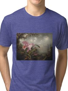 Martin Johnson Heade - Orchid And Hummingbird. Garden landscape: garden view, trees and flowers, blossom,  lotus blossom, botanical park, orchid, wonderful sky, passion flowers, magnolias, hummingbird Tri-blend T-Shirt