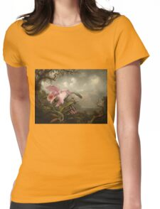 Martin Johnson Heade - Orchid And Hummingbird. Garden landscape: garden view, trees and flowers, blossom,  lotus blossom, botanical park, orchid, wonderful sky, passion flowers, magnolias, hummingbird Womens Fitted T-Shirt