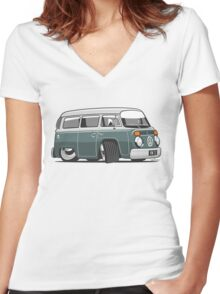 VW T2 Microbus cartoon green Women's Fitted V-Neck T-Shirt