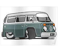 VW T2 Microbus cartoon green Poster