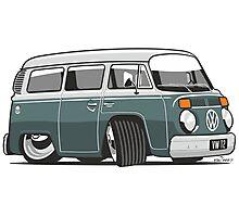 VW T2 Microbus cartoon green Photographic Print