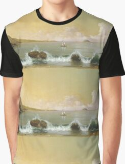Martin Johnson Heade - Rio De Janeiro Bay. Seashore landscape: sea view, yachts, holiday, sailing boat, coast seaside, waves and beach, marine, seascape, sun and clouds, nautical panorama, ocean Graphic T-Shirt