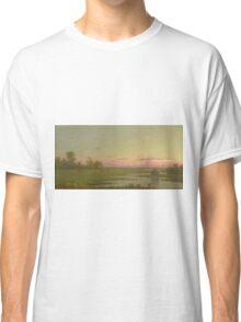 Martin Johnson Heade - Salt Marsh At Southport, Connecticut 1862. Field landscape: field landscape, nature, village, garden, flowers, trees, sun, rustic, countryside, sky and clouds, summer Classic T-Shirt