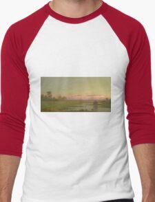 Martin Johnson Heade - Salt Marsh At Southport, Connecticut 1862. Field landscape: field landscape, nature, village, garden, flowers, trees, sun, rustic, countryside, sky and clouds, summer Men's Baseball ¾ T-Shirt