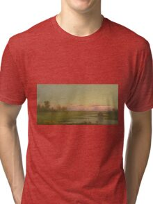 Martin Johnson Heade - Salt Marsh At Southport, Connecticut 1862. Field landscape: field landscape, nature, village, garden, flowers, trees, sun, rustic, countryside, sky and clouds, summer Tri-blend T-Shirt