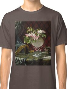 Martin Johnson Heade - Still Life With Apple Blossoms In A Nautilus Shell. Still life with flowers: Apple Blossoms, natural pearls, orchid,  lotus blossom, wonderful flower,  passion garden, magnolias Classic T-Shirt