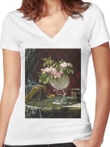Martin Johnson Heade - Still Life With Apple Blossoms In A Nautilus Shell. Still life with flowers: Apple Blossoms, natural pearls, orchid,  lotus blossom, wonderful flower,  passion garden, magnolias Women's Fitted V-Neck T-Shirt