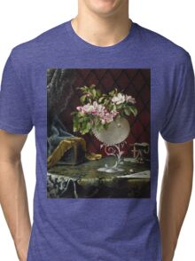 Martin Johnson Heade - Still Life With Apple Blossoms In A Nautilus Shell. Still life with flowers: Apple Blossoms, natural pearls, orchid,  lotus blossom, wonderful flower,  passion garden, magnolias Tri-blend T-Shirt