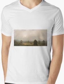 Martin Johnson Heade - The Great Swamp 1868. Field landscape: field landscape, nature, village, garden, flowers, trees, sun, rustic, countryside, sky and clouds, summer Mens V-Neck T-Shirt