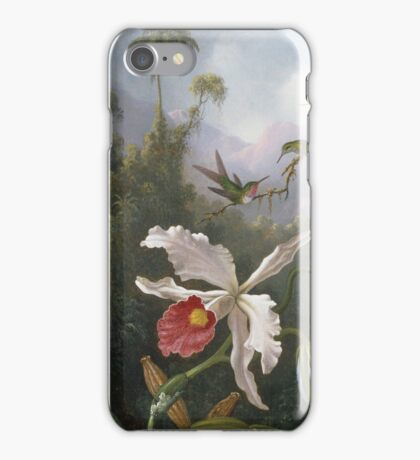 Martin Johnson Heade - Two Hummingbirds Above A White Orchid. Still life with flowers: hummingbird, nest, orchid,  lotus blossom, wonderful flower, forest, passion garden, magnolias iPhone Case/Skin