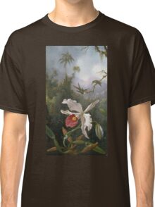 Martin Johnson Heade - Two Hummingbirds Above A White Orchid. Still life with flowers: hummingbird, nest, orchid,  lotus blossom, wonderful flower, forest, passion garden, magnolias Classic T-Shirt