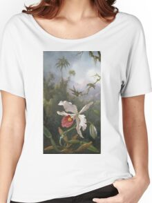 Martin Johnson Heade - Two Hummingbirds Above A White Orchid. Still life with flowers: hummingbird, nest, orchid,  lotus blossom, wonderful flower, forest, passion garden, magnolias Women's Relaxed Fit T-Shirt
