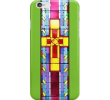 Stained Glass Crucifix - Green Background iPhone Case/Skin