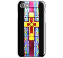 Stained Glass Crucifix - Black iPhone Case/Skin