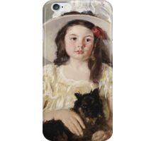 Mary Cassatt - Francoise Holding A Little Black Dog. Girl portrait: cute girl, girly, hat, pretty angel, child, beautiful dress, headdress, smile, little, dog, baby iPhone Case/Skin