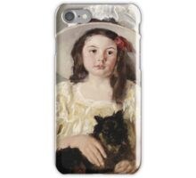 Mary Cassatt - Francoise Holding A Little Black Dog. Girl portrait: cute girl, girly, hat, pretty angel, child, beautiful dress, headdress, smile, little, dog, baby iPhone Case/Skin