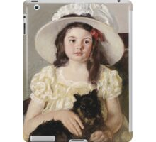 Mary Cassatt - Francoise Holding A Little Black Dog. Girl portrait: cute girl, girly, hat, pretty angel, child, beautiful dress, headdress, smile, little, dog, baby iPad Case/Skin