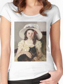 Mary Cassatt - Francoise Holding A Little Black Dog. Girl portrait: cute girl, girly, hat, pretty angel, child, beautiful dress, headdress, smile, little, dog, baby Women's Fitted Scoop T-Shirt