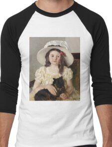Mary Cassatt - Francoise Holding A Little Black Dog. Girl portrait: cute girl, girly, hat, pretty angel, child, beautiful dress, headdress, smile, little, dog, baby Men's Baseball ¾ T-Shirt