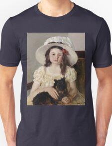 Mary Cassatt - Francoise Holding A Little Black Dog. Girl portrait: cute girl, girly, hat, pretty angel, child, beautiful dress, headdress, smile, little, dog, baby Unisex T-Shirt