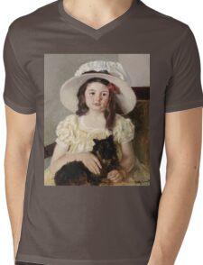 Mary Cassatt - Francoise Holding A Little Black Dog. Girl portrait: cute girl, girly, hat, pretty angel, child, beautiful dress, headdress, smile, little, dog, baby Mens V-Neck T-Shirt