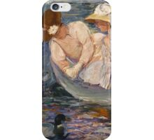 Mary Cassatt - Summertime. Mother with kid portrait: cute girl, mother and daughter, lake, boat, ducks, beautiful dress, lovely family, mothers day, memory, mom mum mammy mam, baby iPhone Case/Skin