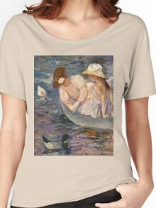 Mary Cassatt - Summertime. Mother with kid portrait: cute girl, mother and daughter, lake, boat, ducks, beautiful dress, lovely family, mothers day, memory, mom mum mammy mam, baby Women's Relaxed Fit T-Shirt