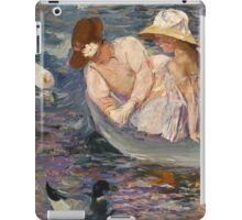 Mary Cassatt - Summertime. Mother with kid portrait: cute girl, mother and daughter, lake, boat, ducks, beautiful dress, lovely family, mothers day, memory, mom mum mammy mam, baby iPad Case/Skin