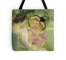 Mary Cassatt - In The Garden. Mother with kid portrait: cute girl, mother and daughter,  Garden, girly, headdress, beautiful dress, lovely family, mothers day, memory, mom mum mam, face with hairs Tote Bag