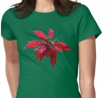 Poinsettia Painting Womens Fitted T-Shirt