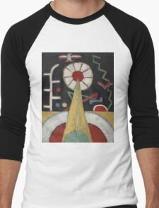 Marsden Hartley - Painting No. 3. Abstract painting: abstract art, geometric, expressionism, composition, lines, forms, creative fusion, spot, shape, illusion, fantasy future Men's Baseball ¾ T-Shirt