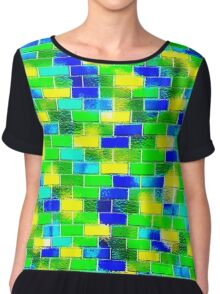 BRICK WALL SMUDGED (Blues, Greens & Yellows)-(9000 x 9000 px) Chiffon Top