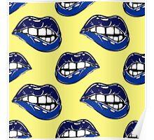 Sexy fatal biting lips seamless pattern Poster