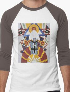 Marsden Hartley - Painting Number 49, Berline. Abstract painting: abstract art, geometric, expressionism, composition, lines, forms, creative fusion, spot, shape, illusion, fantasy future Men's Baseball ¾ T-Shirt