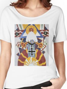 Marsden Hartley - Painting Number 49, Berline. Abstract painting: abstract art, geometric, expressionism, composition, lines, forms, creative fusion, spot, shape, illusion, fantasy future Women's Relaxed Fit T-Shirt