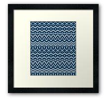 Christmas blue knitting pattern Framed Print
