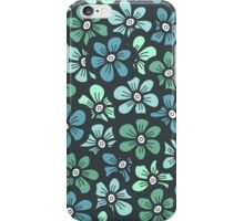Green seamless flower doodle pattern iPhone Case/Skin