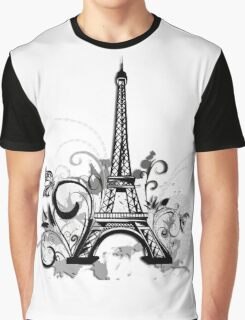 Eiffel tower with floral and grunge Graphic T-Shirt