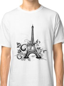 Eiffel tower with floral and grunge Classic T-Shirt